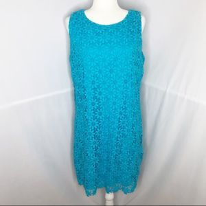 Lilly Pulitzer blue floral lace shift dress